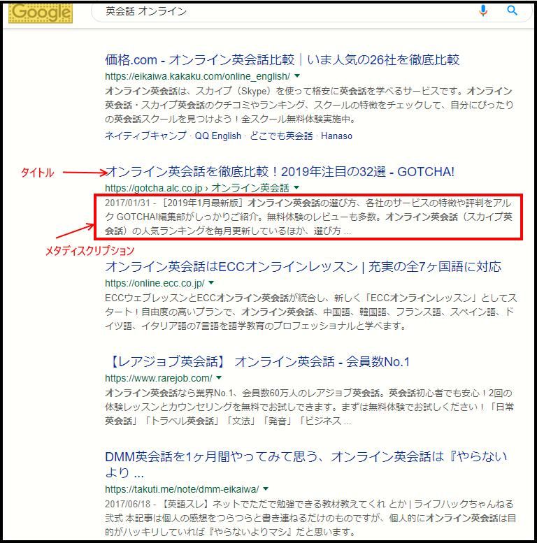 WordpressのSEO設定 検索結果