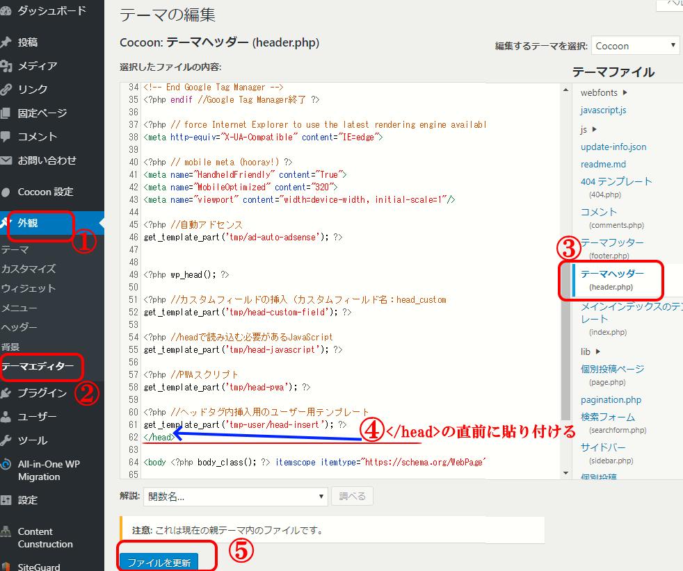 らくペタをワードプレスのテーマヘッダー (header.php)に貼り付ける