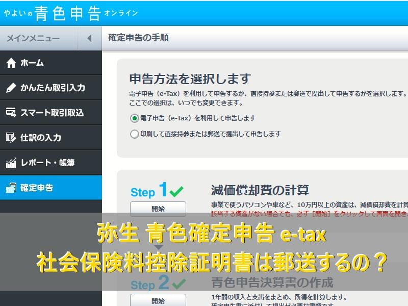 弥生 青色確定申告 e-tax 社会保険料控除証明書は郵送するの?
